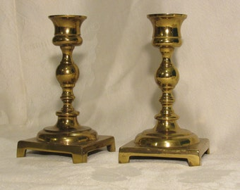 brass candle sticks fine quality vintage