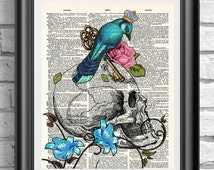 Blue Bird Anatomical Print, Tattoo print, Wall decor, Wall hangings, Dictionary print, Book page art print, Gothic Print Skull and rose