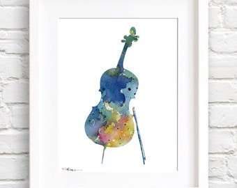 Blue Cello Art Print - Abstract Watercolor Painting - Music Wall Decor