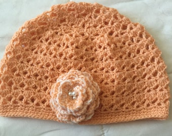 Crocheted Baby Beanie with Flower