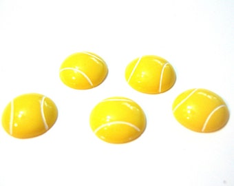 Tennis Balls Embellishments Yellow Set of 5 Flat Back - 923