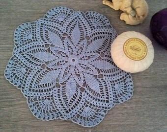 Blue pattern crochet flower doily