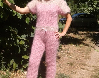 New Hand Knitted Mohair Pants,Sexy Unique Union Suit,Pink & Beige,Handmade