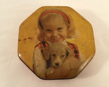Arthur Holland Octogon Toffee Tin — Girl & Puppy — 1950/60s