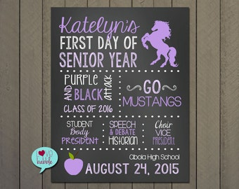 First day of Senior Year school sign, Back to school poster, Last day of High School sign Photo Prop - DIGITAL PRINTABLE SIGN - 11x14