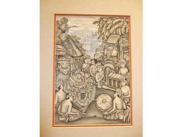 """Traditional Bali painting on fabric, beige and gray tones, Bali in 1950's 12x8.5, matted 14xx18"""", excellent condition.  signed ASTAWA"""