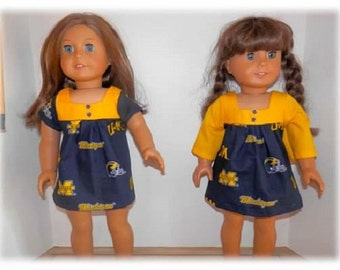"Michigan collage doll dress for any 18"" dolly"