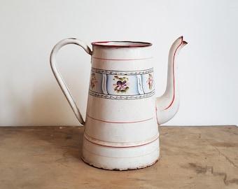 French Enamelware - Vintage Enamelware - French Enamel - French Pitcher - Vintage Pitcher - Rustic Kitchen - French Kitchen Vintage Kitchen