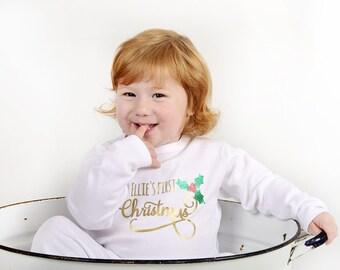 Personalised babies christmas pyjamas from birth to age 6