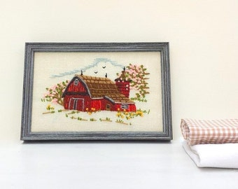 Vintage Needle Point Wall Hanging, Home Decor. 1970s Small Red Barn, Landscape Embroidery Picture. Minimalist, Shabby, Cottage Chic Decor.