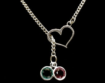 Birthstone Necklace, Mother Necklace, Mom Gift, Grandmother Gift, Gift For Her,Heart Personalized Lariat Necklace