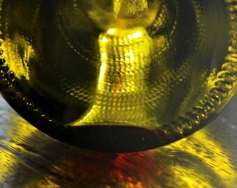Empty wine bottle close up photo
