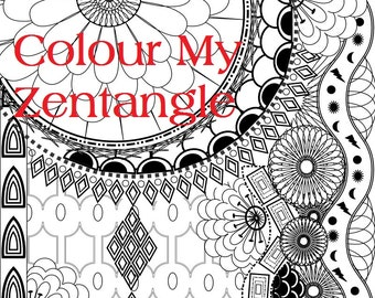 Shapes Zentangle - A4 Size Colouring Page