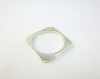 Square Wedding Band, Sterling Silver Square Ring, Kabballah Jewelry