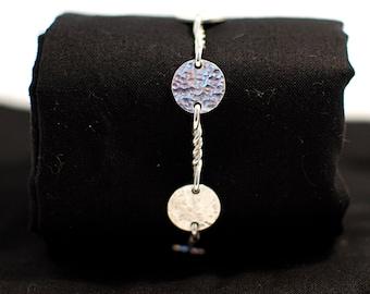 Hammered Sterling Silver Disc Bracelet