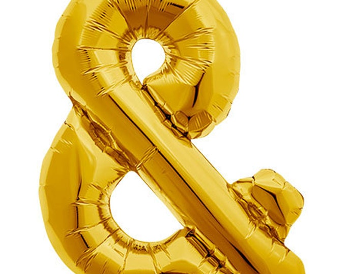 Gold or silver AMPERSAND Foil Balloon   Jumbo Balloon 40 inch Life-size Balloon   and balloon