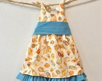 Newborn baby beach dress - Gingham ruffle seashell dress ~ READY TO Ship - SPECIAL