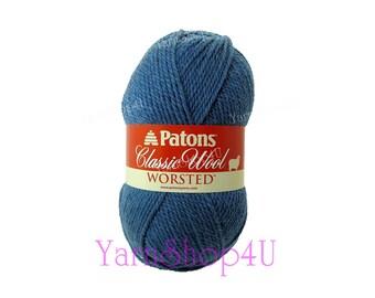 NEW DENIM Patons Classic Wool. Blue pure wool yarn. Felting yarn, medium 4 worsted weight pure wool Feltable wool 3.5 ounce 100g, 210yds