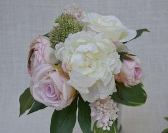 No. 4047P  Peony , Rose, Lilac, Ranunculus Bouquet - Artificial Flower Bouquet, Artificial Flower, Wedding Bouquet, Bridesmaid Bouquet.