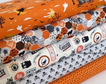Halloween Fabric Bundle, Happy Haunting, Riley Blake, Half Yard Bundle or One Yard Bundle of 5, Haunted House, Spiders, Cotton Fabric Bundle