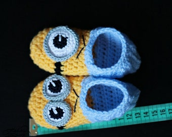 Crochet Minion Slippers - adult + kids sizes PDF file