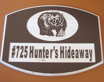 Personalized Large Wood Cottage Sign with Carved Bear