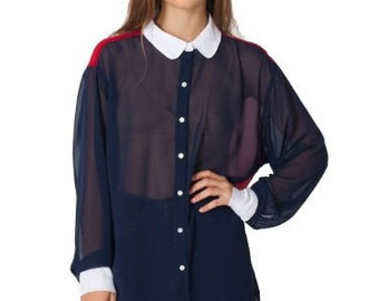 Oversize color block chiffon blouse