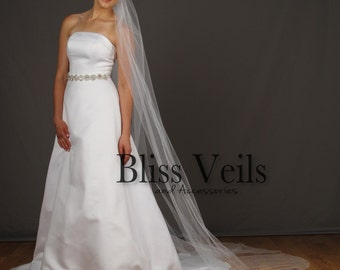 Pencil Edge Veil, Chapel Wedding Veil, One Layer Bridal Veil, Ivory Tulle Veil, Also Available in Cathedral Length!