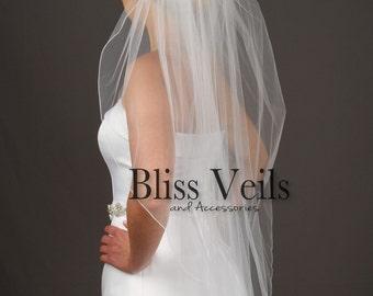 Fingertip Veil, Custom Lengths Available, 1 Layer Veil, White, Ivory Off White Bridal Veil