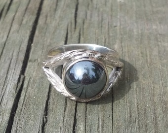 Sterling silver ring with hematite