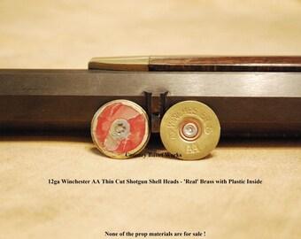 Thin Cut 12ga Winchester AA Brass Shotgun Shell Heads, Hand Cut (Singles, Order 1 or 100) for Jewelry/Arts & Craft making