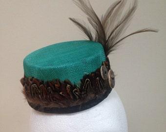 Mini Pillbox Fascinator- Feathered Steampunk Sinamay Hat