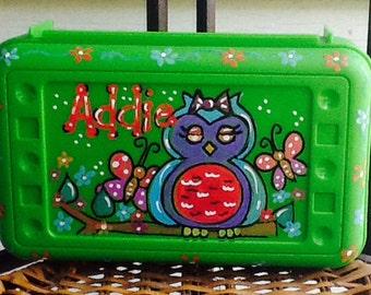 Owl, art, school supply box
