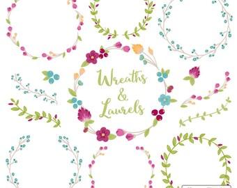 Premium Floral Wreaths & Laurels in Bohemian - Bohemian Wreath, Wreath Clipart, Laurel Clipart, Vector Wreaths, Vector Laurels