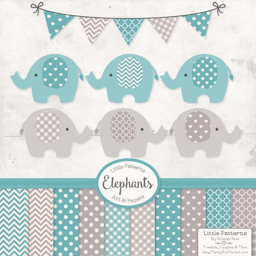 Baby Shower Decorations Vector ~ Premium elephant clipart vectors digital papers in vintage