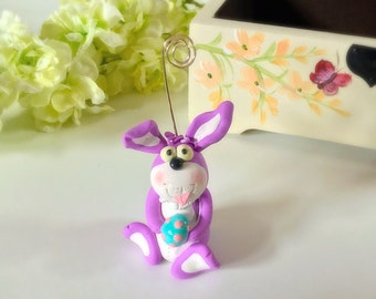 Purple bunny business card/picture holder