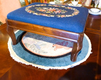 Vintage 1930s Needlepoint On Mahogany Stool 14 x 19 x 9H