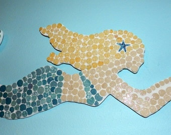 Handcut ceramic mosaic tile Mermaid Wall Art / Wall Decor