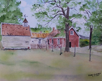 barn painting,watercolor painting,landscapes,painting of farm,, farm, barns, fence posts,red barns,trees, pasture,farm animals