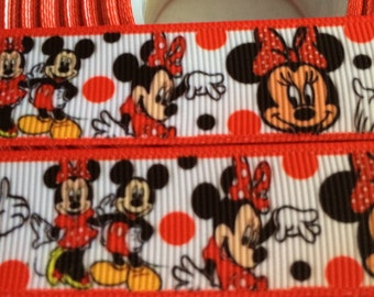 "Minnie Mouse 7/8"" Grosgrain Ribbon - 5 Yards,"
