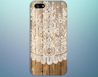 White Lace Doily x Dark Brown Wood Design Case for iPhone 8 6 Plus iPhone X  Samsung Galaxy s8 edge s6 and Note 8  S8 Plus Phone Case