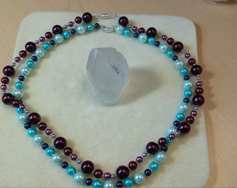 Beaded necklace in blues
