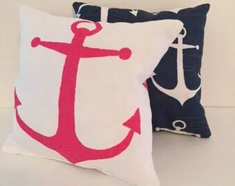 Anchor pillows, Nautical pillow, Pink Anchor Pillow, Small 8x8 inchesdecorative pillow, Nursery pillow, Glider Pillow, Baby pillows, Premier