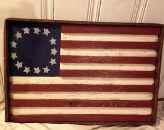 Americana Folk Art Wooden Rustic American Flag Stars & Stripes