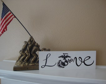 Love - Marines Wood Sign, Military, Marine Corps, USMC Marines Home Decor