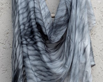 Shibori smoked blue silk scarf // smoked grey blue scarf // Blue Hive Scarf