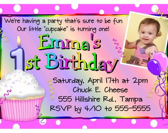1st Birthday party cupcake invitation - DIY - INSTANT DOWNLOAD ~ Printable Digital File