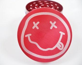 """Smiley Face 2.2"""" Laser Etched 4 Piece Metal Herb Grinder"""