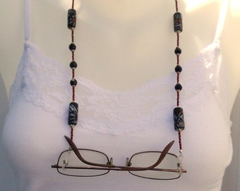 Black and Red Beaded Eyeglass Chain
