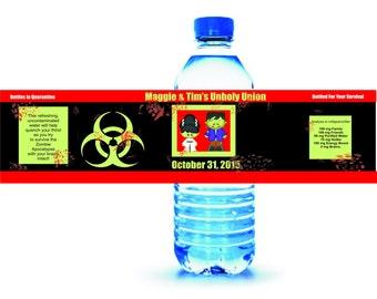 25 Waterproof Water Bottle Monster Wedding Labels